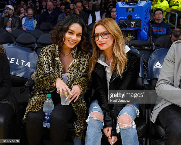 Vanessa Hudgens and Ashley Tisdale attend a basketball game between the Detroit Pistons and the Los Angeles Lakers at Staples Center on January 15...