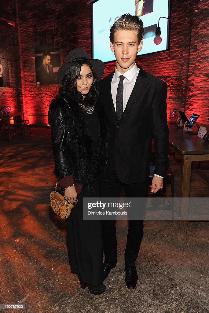 Vanessa Hudgens and <a gi-track='captionPersonalityLinkClicked' href=/galleries/search?phrase=Austin+Butler&family=editorial&specificpeople=5626394 ng-click='$event.stopPropagation()'>Austin Butler</a> attend the John Varvatos Celebration of The New JohnVarvatos.com on February 5, 2013 in New York, United States.