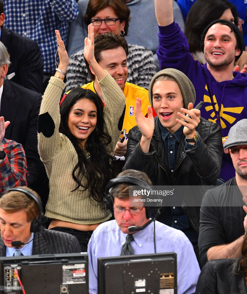 Vanessa Hudgens and Austin Butler attend the Los Angeles Lakers vs New York Knicks game at Madison Square Garden on December 13, 2012 in New York City.