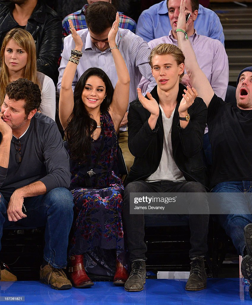 Vanessa Hudgens and Austin Butler attend the Washington Wizards vs New York Knicks game at Madison Square Garden on November 30, 2012 in New York City.