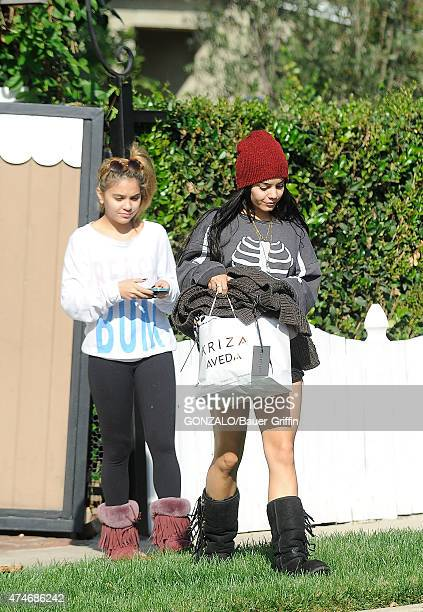 Vanessa Hudgens and her sister Stella are seen on October 31 2012 in Los Angeles California