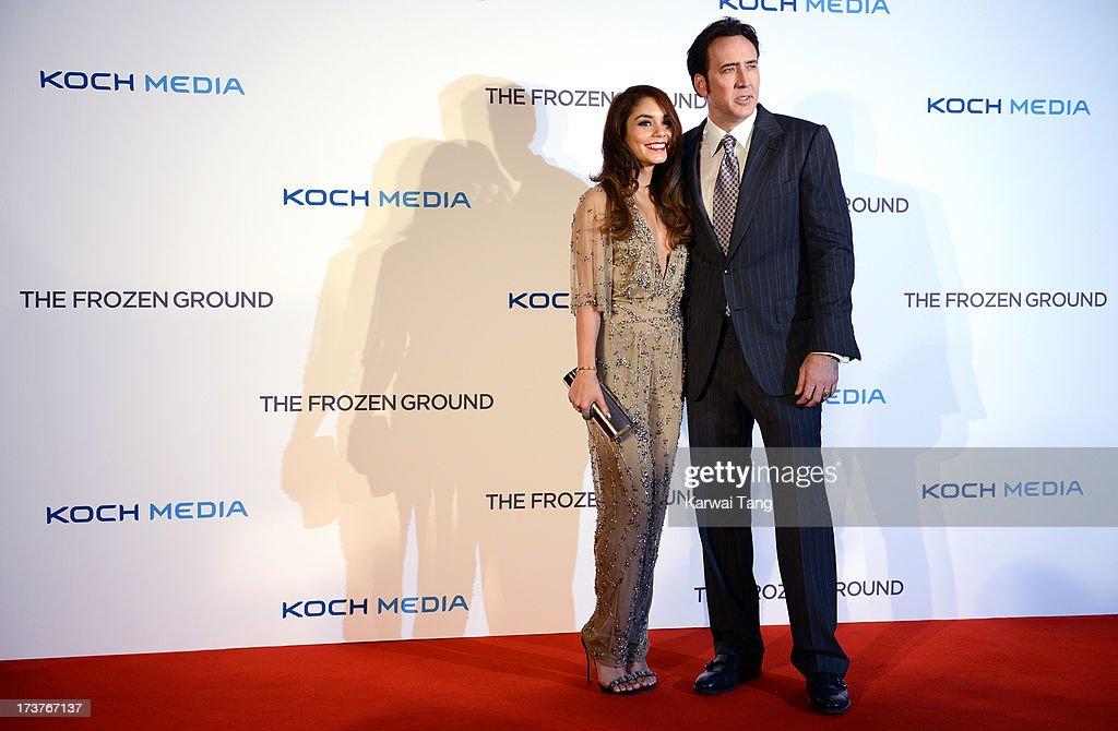 Vanessa Hudgens and <a gi-track='captionPersonalityLinkClicked' href=/galleries/search?phrase=Nicolas+Cage&family=editorial&specificpeople=196531 ng-click='$event.stopPropagation()'>Nicolas Cage</a> attend the UK Premiere of 'The Frozen Ground' at Vue West End on July 17, 2013 in London, England.