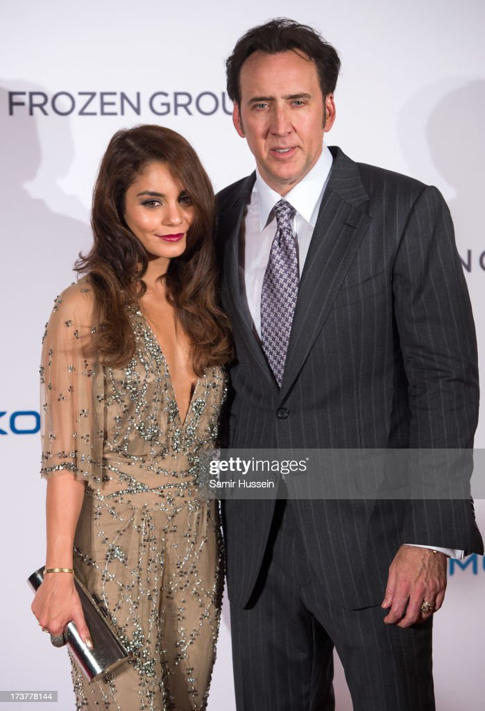 Vanessa Hudgens and <a gi-track='captionPersonalityLinkClicked' href=/galleries/search?phrase=Nicolas+Cage&family=editorial&specificpeople=196531 ng-click='$event.stopPropagation()'>Nicolas Cage</a> attend the UK Premiere of 'The Frozen Ground' at the Vue West End Leicester Square on July 17, 2013 in London, England.