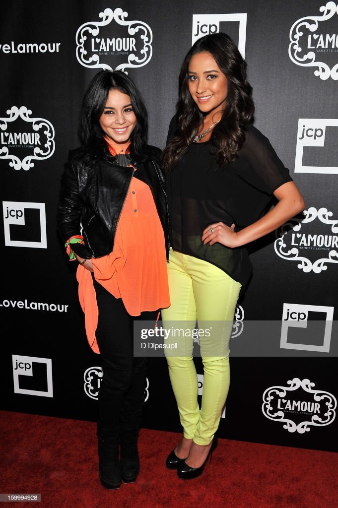 Vanessa Hudgens (L) and <a gi-track='captionPersonalityLinkClicked' href=/galleries/search?phrase=Shay+Mitchell&family=editorial&specificpeople=6886213 ng-click='$event.stopPropagation()'>Shay Mitchell</a> attend the L'Amour By Nanette Lepore For JCP Launch Party at Good Units on January 24, 2013 in New York City.