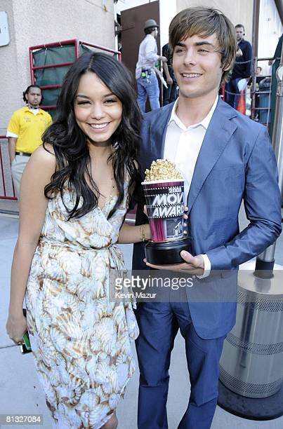 Vanessa Hudgens and Zac Efron backstage at the 2008 MTV Movie Awards on June 1 2008 at the Gibson Amphitheatre in Universal City California