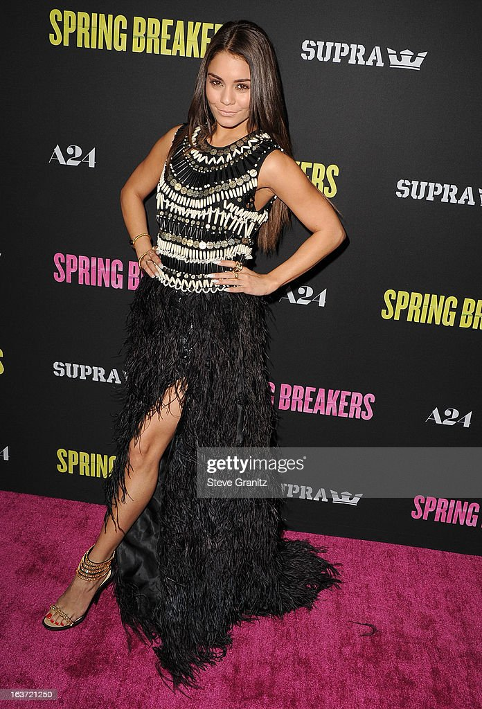 Vanessa Hudgens arrives at the 'Spring Breakers' Los Angeles Premiere at ArcLight Hollywood on March 14, 2013 in Hollywood, California.