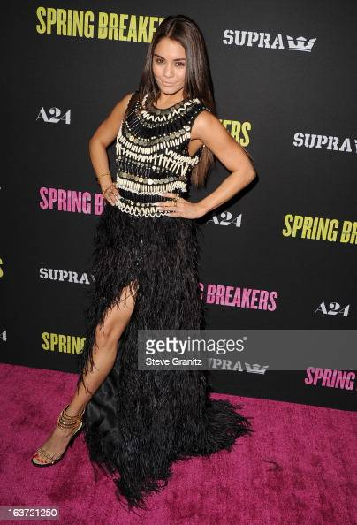 Vanessa Hudgens arrives at the 'Spring Breakers' Los Angeles Premiere at ArcLight Hollywood on March 14 2013 in Hollywood California