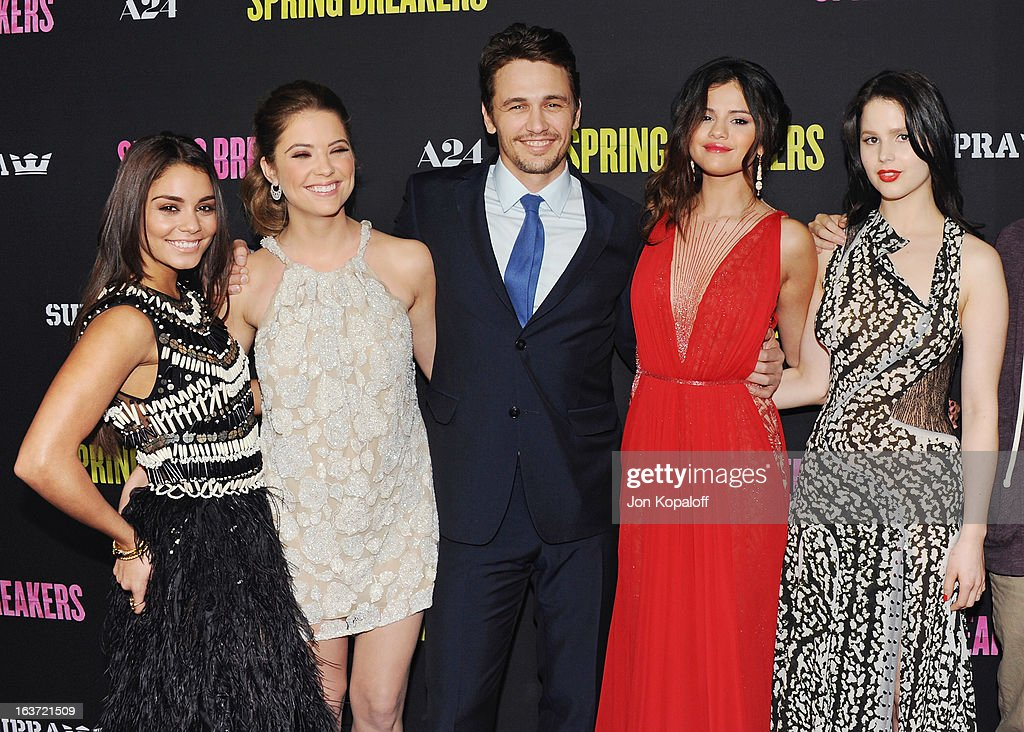 Vanessa Hudgens, Ashley Benson, James Franco, Selena Gomez and Rachel Korine arrive at the Los Angeles Premiere 'Spring Breakers' at ArcLight Hollywood on March 14, 2013 in Hollywood, California.