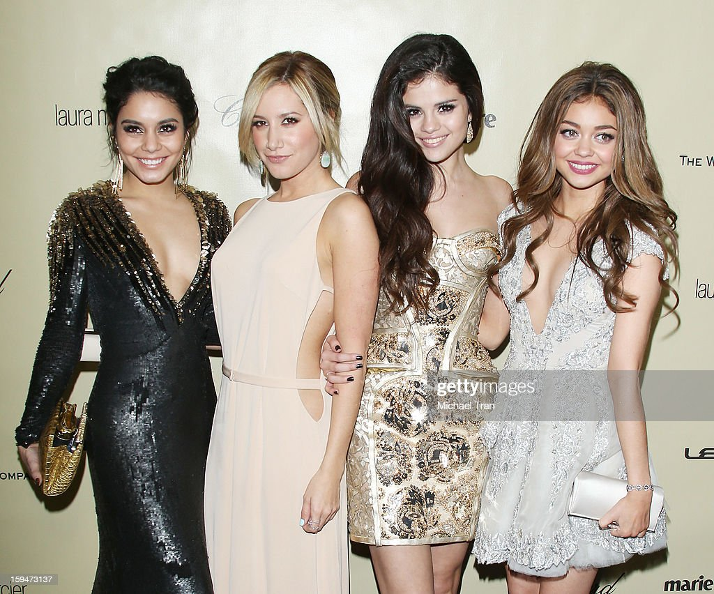 Vanessa Hudgens, <a gi-track='captionPersonalityLinkClicked' href=/galleries/search?phrase=Ashley+Tisdale&family=editorial&specificpeople=213972 ng-click='$event.stopPropagation()'>Ashley Tisdale</a>, <a gi-track='captionPersonalityLinkClicked' href=/galleries/search?phrase=Selena+Gomez&family=editorial&specificpeople=4295969 ng-click='$event.stopPropagation()'>Selena Gomez</a> and <a gi-track='captionPersonalityLinkClicked' href=/galleries/search?phrase=Sarah+Hyland&family=editorial&specificpeople=3989646 ng-click='$event.stopPropagation()'>Sarah Hyland</a> arrive at The Weinstein Company's 2013 Golden Globes after party held at The Beverly Hilton Hotel on January 13, 2013 in Beverly Hills, California.