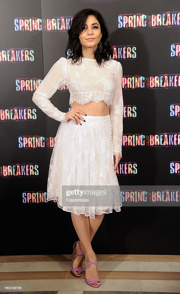 Vanessa Hudgens attends a photocall for Spring Breakers at the Villamagna Hotel on February 21, 2013 in Madrid, Spain.