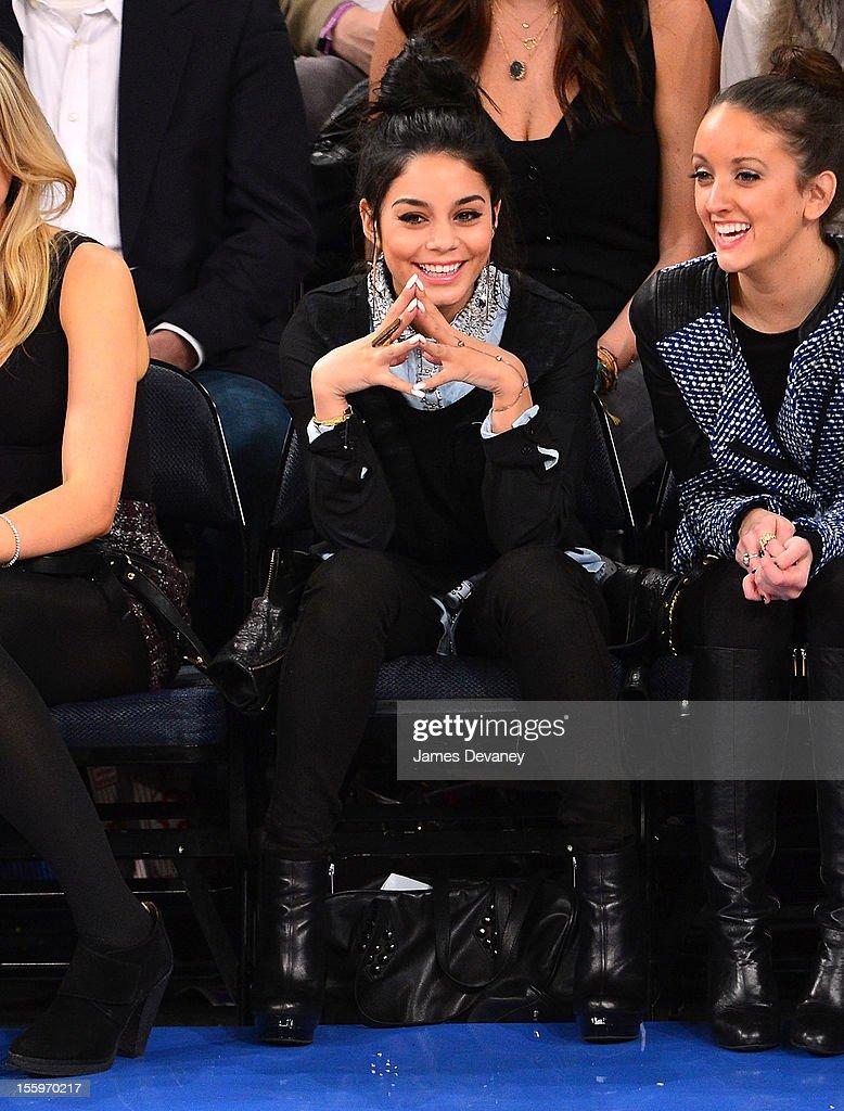 Vanessa Hudgens attends the Dallas Mavericks vs New York Knicks game at Madison Square Garden on November 9, 2012 in New York City.
