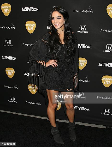 Vanessa Hudgens attends the Guitar Hero Live's launch party held at YouTube Space LA on October 19 2015 in Los Angeles California