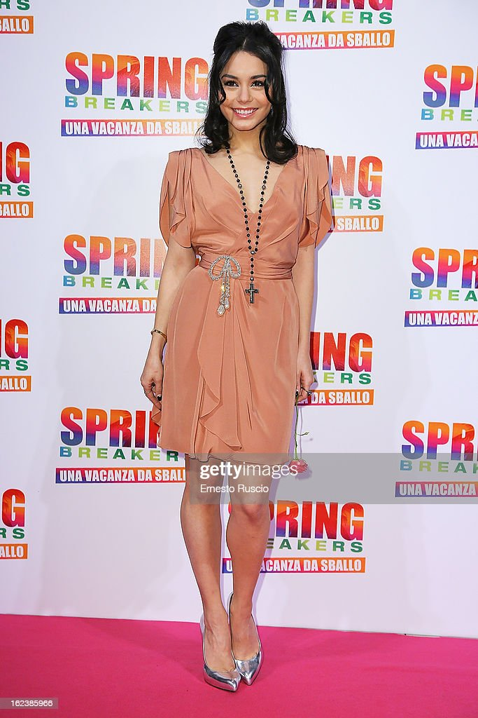 Vanessa Hudgens attends the 'Spring Breakers' screening at Adriano Cinema on February 22, 2013 in Rome, Italy.