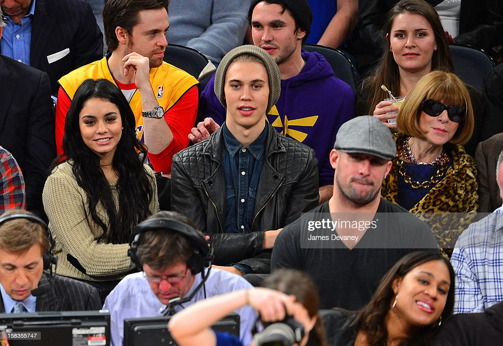 Vanessa Hudgens, Austin Butler and Anna Wintour attend the Los Angeles Lakers vs New York Knicks game at Madison Square Garden on December 13, 2012 in New York City.