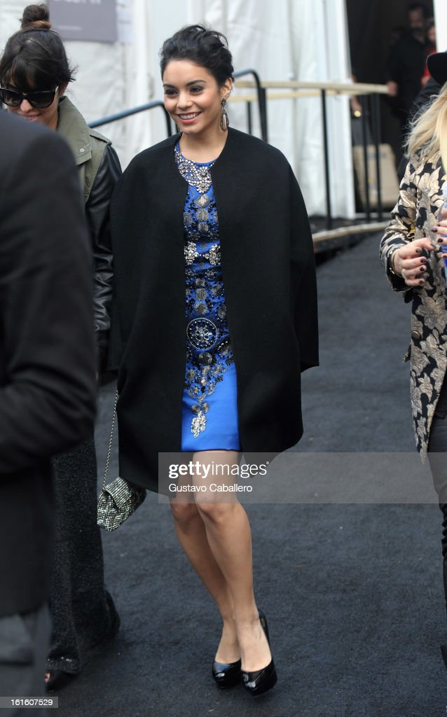 Vanessa Hudgens is seen around Lincoln Center on day 6 of Fall 2013 MercedesBenz Fashion Week at Lincoln Center for the Performing Arts on February...