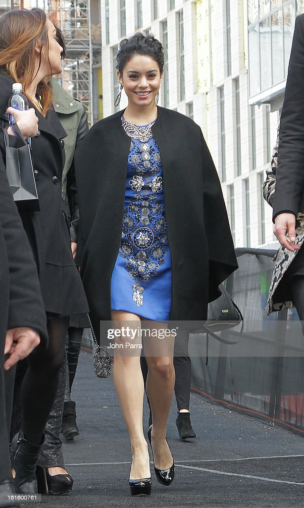 Vanessa Hudgens is seen during Fall 2013 Mercedes-Benz Fashion Week at Lincoln Center for the Performing Arts on February 12, 2013 in New York City.