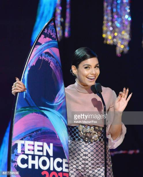 Vanessa Hudgens speaks onstage during the Teen Choice Awards 2017 at Galen Center on August 13 2017 in Los Angeles California