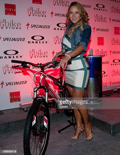 Vanessa Huppenkothen poses for photographers during the inauguration of the store 'Specialized Bicycle Components' on November 17 2010 in Mexico City...