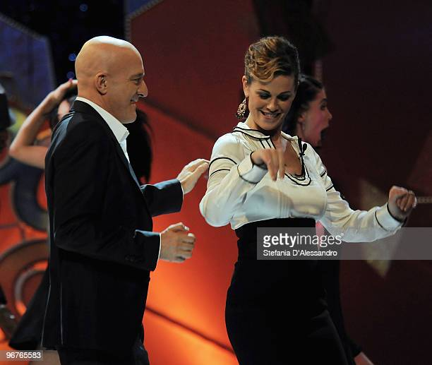 Vanessa Incontrada and Claudio Bisio attend 'Zelig' Italian Tv Show held at Teatro degli Arcimboldi on February 16 2010 in Milan Italy