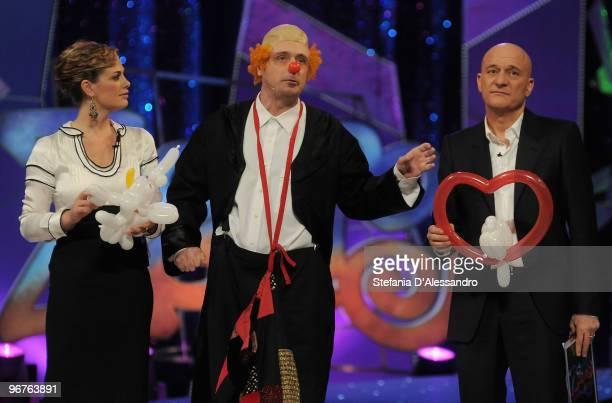 Vanessa Incontrada Leonardo Manera and Claudio Bisio attend 'Zelig' Italian Tv Show held at Teatro degli Arcimboldi on February 16 2010 in Milan Italy