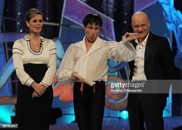 Vanessa Incontrada Raul Cremona and Claudio Bisio attend 'Zelig' Italian Tv Show held at Teatro degli Arcimboldi on February 16 2010 in Milan Italy