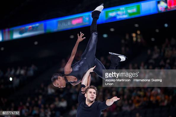Vanessa James and Morgan Cipres of France compete during Pairs Free Skating on day two of the Trophee de France ISU Grand Prix of Figure Skating at...