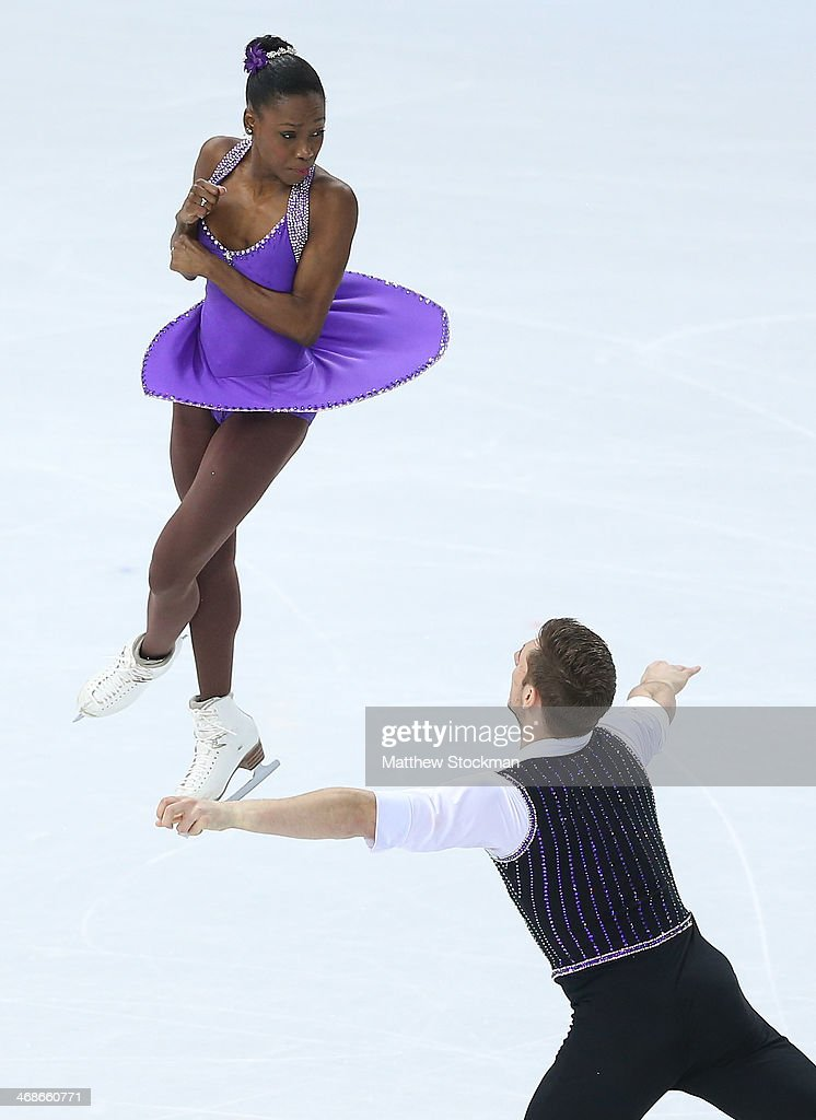 <a gi-track='captionPersonalityLinkClicked' href=/galleries/search?phrase=Vanessa+James&family=editorial&specificpeople=4113198 ng-click='$event.stopPropagation()'>Vanessa James</a> and Morgan Cipres of France compete during the Figure Skating Pairs Short Program on day four of the Sochi 2014 Winter Olympics at Iceberg Skating Palace on February 11, 2014 in Sochi, Russia.