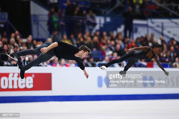 Vanessa James and Morgan Cipres of France compete in the Pairs Free Skating during day 2 of the European Figure Skating Championships at Ostravar...
