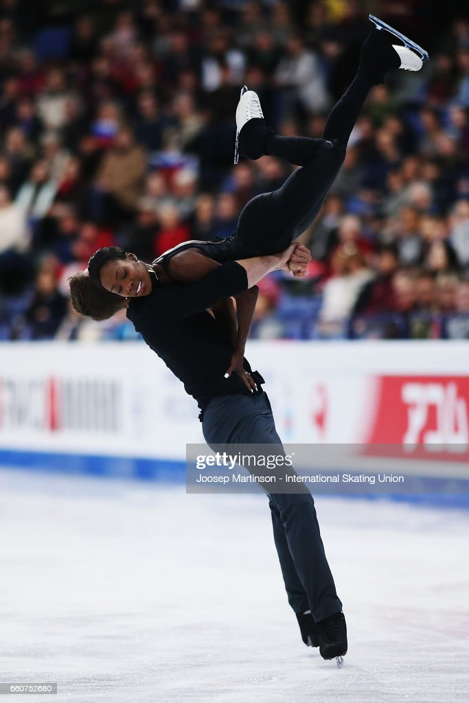 Vanessa James and Morgan Cipres of France compete in the Pairs Free Skating during day two of the World Figure Skating Championships at Hartwall Arena on March 30, 2017 in Helsinki, Finland.