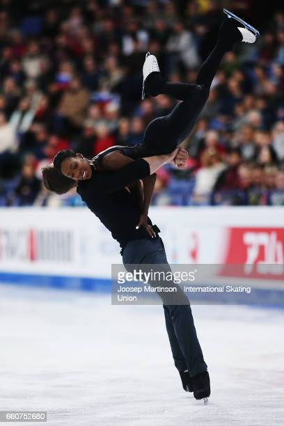 Vanessa James and Morgan Cipres of France compete in the Pairs Free Skating during day two of the World Figure Skating Championships at Hartwall...