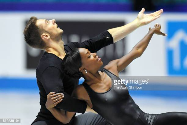 Vanessa James and Morgan Cipres of France compete in the Pairs free skating during day three of the ISU World Team Trophy at Yoyogi Nationala...
