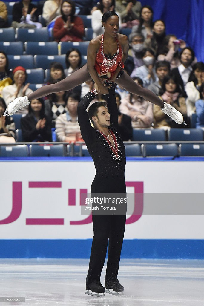 Vanessa James and Morgan Cipres of France compete in the Pairs short program during the day two of the ISU World Team Trophy at Yoyogi National Gymnasium on April 17, 2015 in Tokyo, Japan.