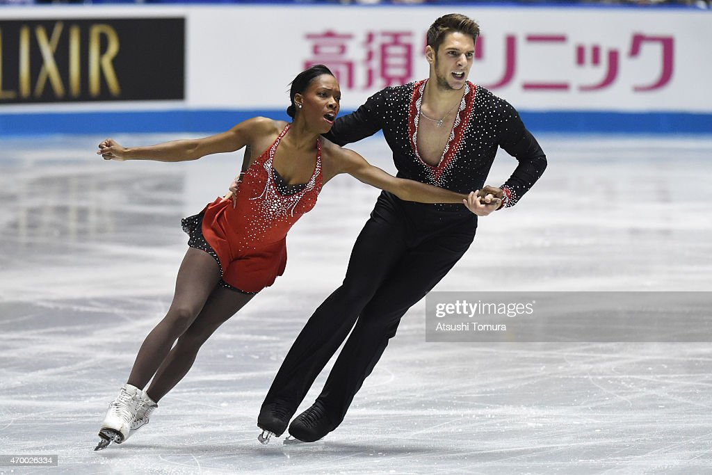 <a gi-track='captionPersonalityLinkClicked' href=/galleries/search?phrase=Vanessa+James&family=editorial&specificpeople=4113198 ng-click='$event.stopPropagation()'>Vanessa James</a> and Morgan Cipres of France compete in the Pairs short program during the day two of the ISU World Team Trophy at Yoyogi National Gymnasium on April 17, 2015 in Tokyo, Japan.