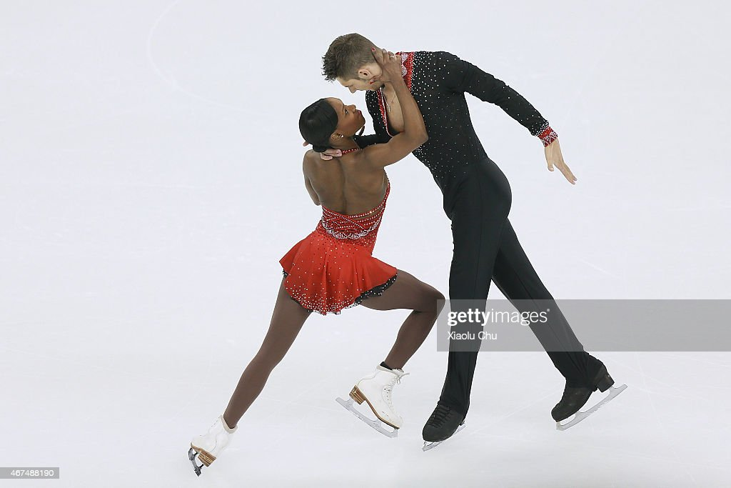 <a gi-track='captionPersonalityLinkClicked' href=/galleries/search?phrase=Vanessa+James&family=editorial&specificpeople=4113198 ng-click='$event.stopPropagation()'>Vanessa James</a> and Morgan Cipres of France perform during the Pairs Short Program on day one of the 2015 ISU World Figure Skating Championships at Shanghai Oriental Sports Center on March 25, 2015 in Shanghai, China.