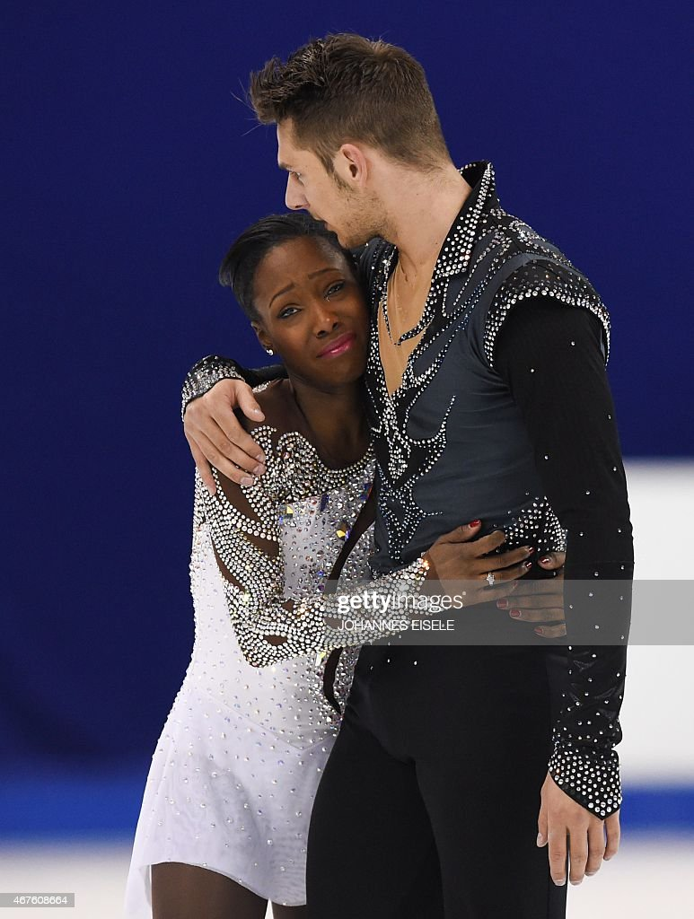 <a gi-track='captionPersonalityLinkClicked' href=/galleries/search?phrase=Vanessa+James&family=editorial&specificpeople=4113198 ng-click='$event.stopPropagation()'>Vanessa James</a> (L) and Morgan Cipres of France react after their pairs free skating of the 2015 ISU World Figure Skating Championships at Shanghai Oriental Sports Center in Shanghai on March 26, 2015.