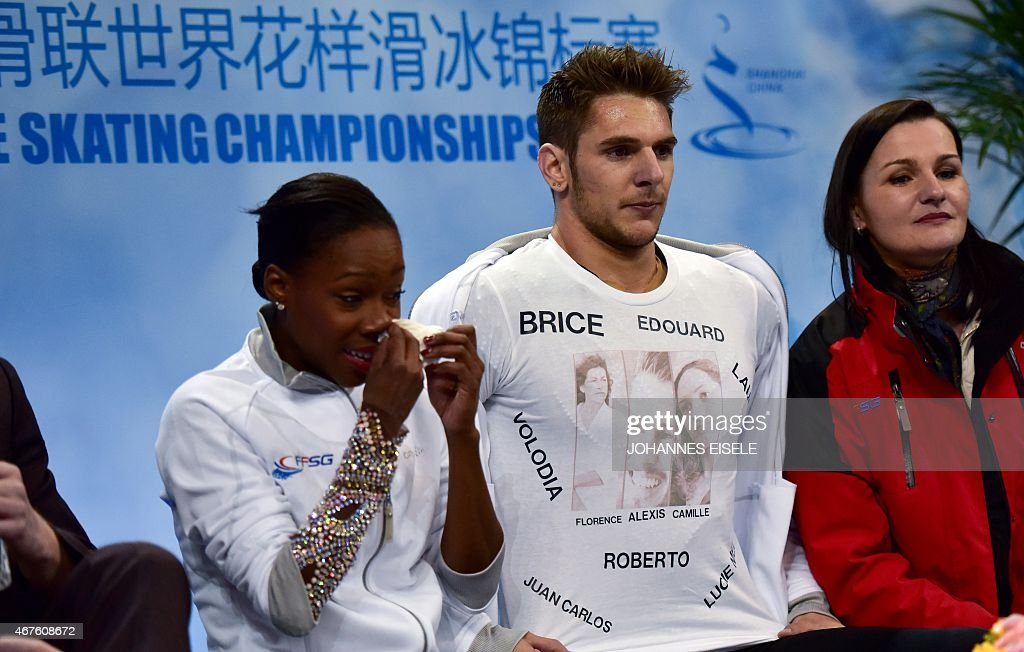 <a gi-track='captionPersonalityLinkClicked' href=/galleries/search?phrase=Vanessa+James&family=editorial&specificpeople=4113198 ng-click='$event.stopPropagation()'>Vanessa James</a> (L) and Morgan Cipres of France react after their pairs free skating of the 2015 ISU World Figure Skating Championships at Shanghai Oriental Sports Center in Shanghai on March 26, 2015. AFP PHOTO / JOHANNES EISELE