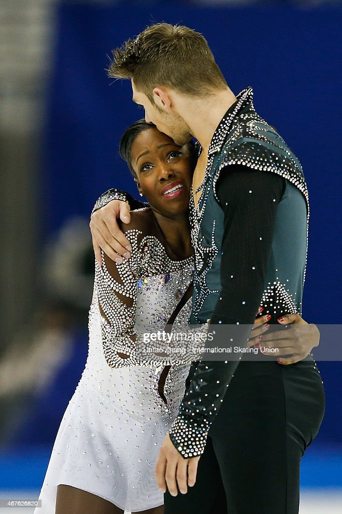 <a gi-track='captionPersonalityLinkClicked' href=/galleries/search?phrase=Vanessa+James&family=editorial&specificpeople=4113198 ng-click='$event.stopPropagation()'>Vanessa James</a> and Morgan Cipres of France reacts after compete Pairs-Free Skating on day two of the 2015 ISU World Figure Skating Championships at Shanghai Oriental Sports Center on March 26, 2015 in Shanghai, China.