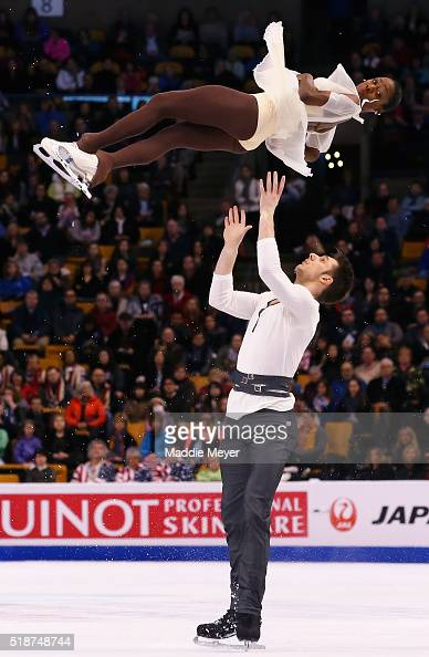 Vanessa James and Morgan Cipres of France skate in the Pairs Free Skate on Day 6 of the ISU World Figure Skating Championships 2016 at TD Garden on...