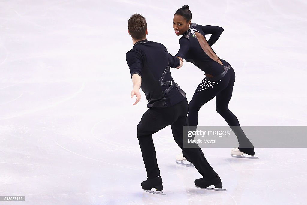 <a gi-track='captionPersonalityLinkClicked' href=/galleries/search?phrase=Vanessa+James&family=editorial&specificpeople=4113198 ng-click='$event.stopPropagation()'>Vanessa James</a> and Morgan Cipres of France skate in the Pairs Short Program during Day 5 of the ISU World Figure Skating Championships 2016 at TD Garden on April 1, 2016 in Boston, Massachusetts.