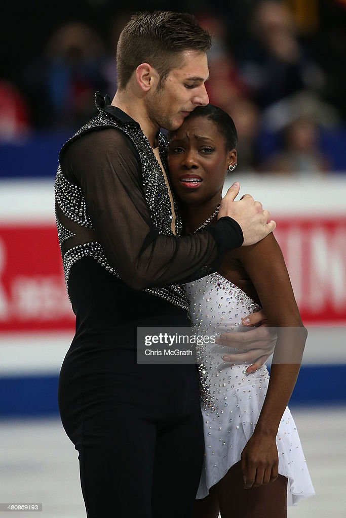 <a gi-track='captionPersonalityLinkClicked' href=/galleries/search?phrase=Vanessa+James&family=editorial&specificpeople=4113198 ng-click='$event.stopPropagation()'>Vanessa James</a> is comforted by partner Morgan Cipres of France after she was dropped on the ice in the Pairs Free Program during ISU World Figure Skating Championships at Saitama Super Arena on March 27, 2014 in Saitama, Japan.