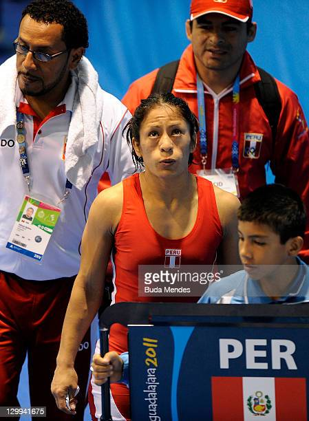 Vanessa Jenny Mallqui of Peru fights against Lynn Verbeek of Canada in the Women's Freestyle 55 kg during the Pan American Games Guadalajara 2011 at...