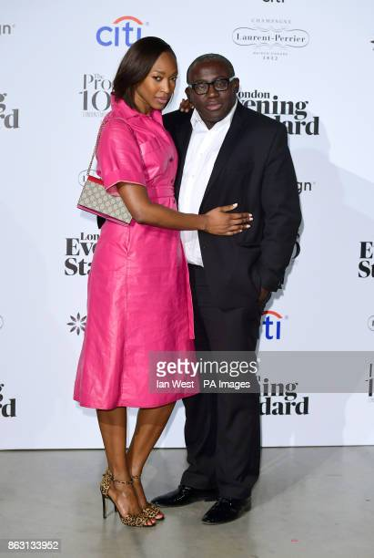 Vanessa Kingori and Edward Enninful at the London Evening Standard's annual Progress 1000 in partnership with Citi and sponsored by Invisalign UK...
