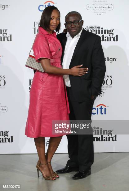 Vanessa Kingori and Edward Enninful attend London Evening Standard's Progress 1000 London's Most Influential People event at on October 19 2017 in...