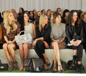 Vanessa Kirby Lana Del Rey Kate Moss Alexa Chung and Rebecca Hall sit in the front row during the Mulberry Spring/Summer 2013 Show during London...