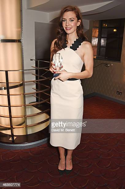 Vanessa Kirby winner of Best Supporting Actress in a Play for 'A Streetcar Named Desire' poses in the press room at the WhatsOnStage Awards at The...