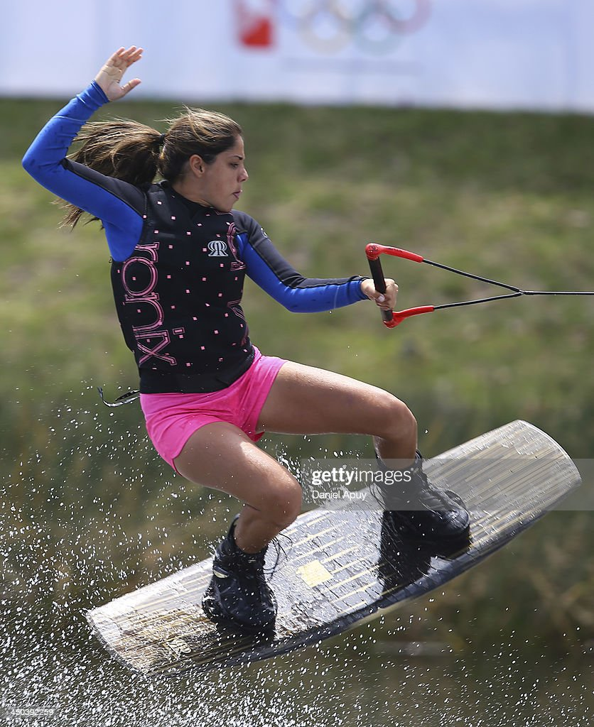 Vanessa Kronfle of Ecuador during the Water Skiing Wakeboard Ladies Final event as part of the XVII Bolivarian Games Trujillo 2013 at Laguna de Bujama on November 18, 2013 in Lima, Peru.