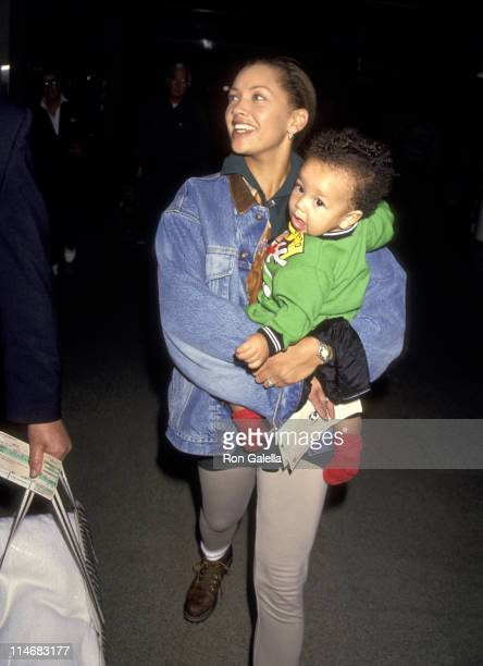 Vanessa L Williams and son Devin Hervey during Vanessa L Williams and son Devin Hervey Sighted at Los Angeles International Airport January 1994 at...