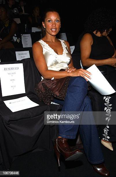 Vanessa L Williams during MercedesBenz Fashion Week Spring Collections 2003 Carmen Marc Valvo Front Row at Bryant Park in New York City New York...