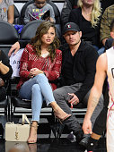 Vanessa Lachey and Nick Lachey attend a basketball game between Portland Trail Blazers and the Los Angeles Clippers at Staples Center on March 24...
