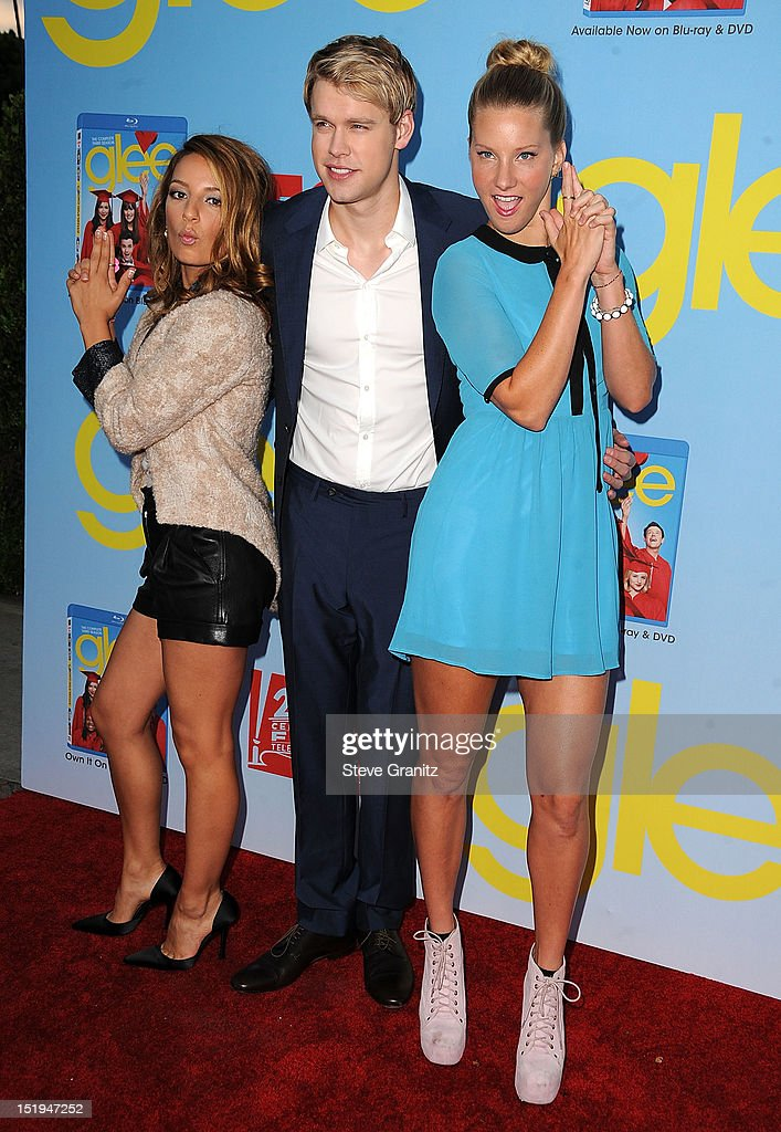 Vanessa Lengies, Chord Overstreet and Heather Morris arrives at the 'GLEE' Premiere Screening And Reception at Paramount Studios on September 12, 2012 in Hollywood, California.